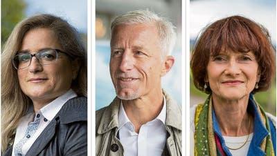 Sie kämpfen am 29. November in St.Gallen ums Stadtpräsidium und den fünften Stadtratssitz (von links): Maria Pappa (SP), Mathias Gabathuler (FDP) und Trudy Cozzio (CVP). (Bilder: PD)