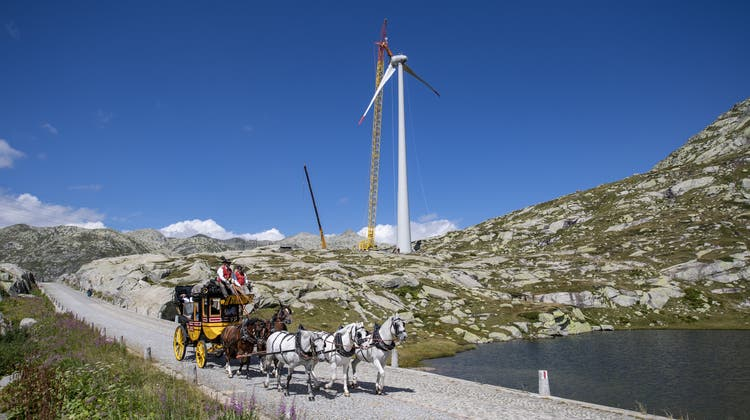Die Windkraftanlage auf dem Gotthard. (Bild: Urs Flüeler/Keystone)