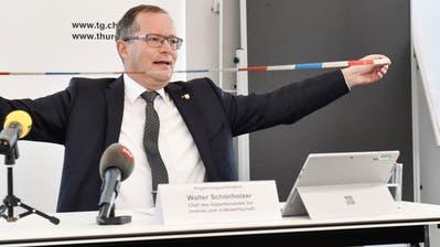 Der Thurgauer Regierungspräsident Walter Schönholzer zeigt die Abstandsregel vor. (Donato Caspari)
