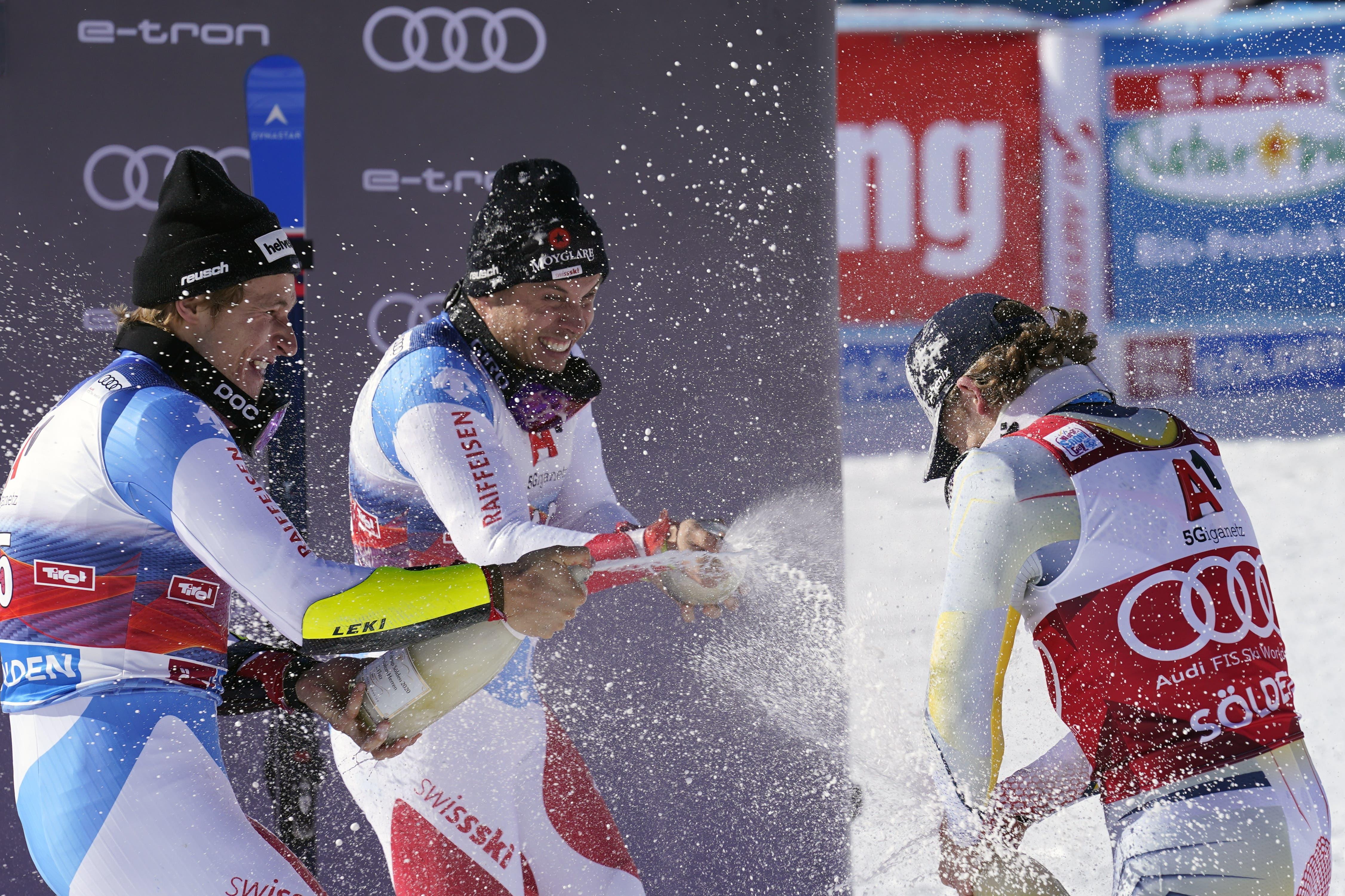 Lucas Braathen (Norwegen) gewinnt den Riesenslalom in Sölden.