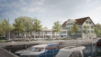 Die Visualisierung zeigt die sanierte «Krone» und das geplante Restaurant sowie die aufgewertete Promenade am Altnauer Hafen. ((Bild: PD/Nightnurse Images, Zürich))