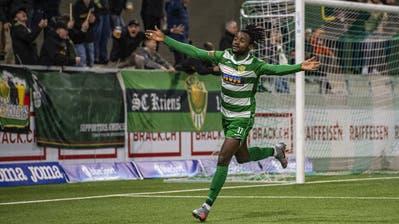 Er setzte in der 75. Minute den Schlusspunkt: Asumah Abubakar nach seinem Treffer zum 5:2. (Bild: Urs Flüeler/Keystone (Kriens, 20. Oktober 2020))