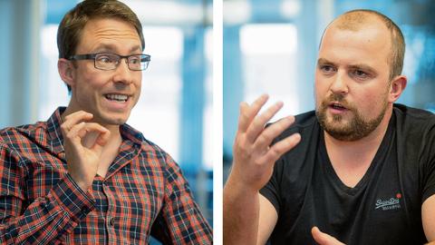 Das Streitgespräch: CVP-Präsident Raphael Widmer rechtfertigt sich, während FDP-Präsident Oskar Seger enttäuscht ist vom Vorgehen der CVP im zweiten Wahlgang um den St.Galler Stadtrat. (Bilder: Ralph Ribi (St.Gallen, 21. Oktober 2020))