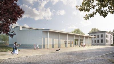 Die Visualisierung zeigt, wie die neue Mehrzweckhalle Oberhofen aussehen könnte. (Bild: PD /Nightnurse Images GmbH)