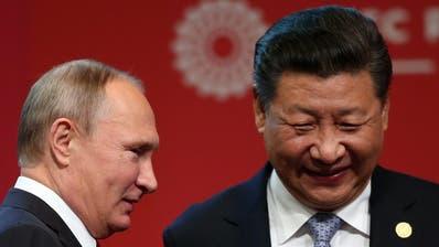 Die Wahl in den USA hat auch für ihre Staaten eine besondere Relevanz: Russlands Präsident Wladimir Putin (l) und Chinas Staatschef Xi Jinping. (Ernesto Arias / EPA)