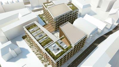 Für die Überbauung müssen der Doppelblock (Mitte oben), die ehemaligen Spiwal- und Prandini-Gebäude (Mitte unten) weichen. Die Villa Wartmann (links) bleibt. (Bild: Mario Testa)