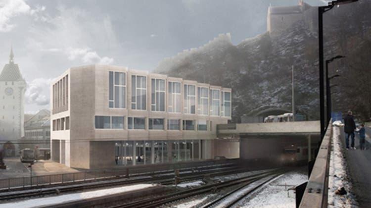 Neues Gebäude beim Bahnhof Baden ermöglicht Busfahrten durch den Berg