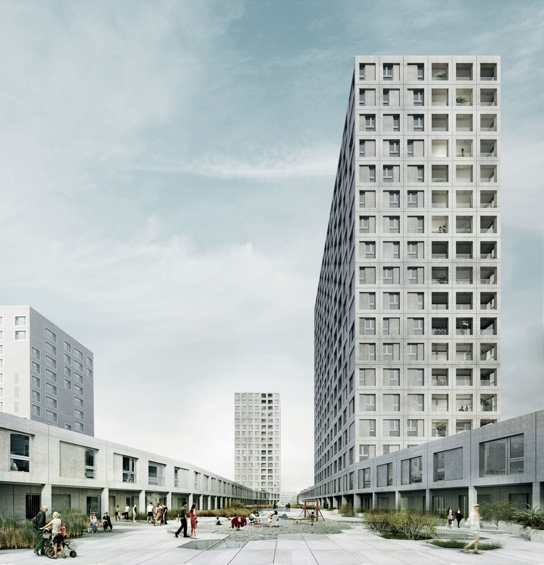 Die zwei versetzten Hochhaustürme auf dem Depotareal sollen künftig das Tor zu Zürich-West betonen