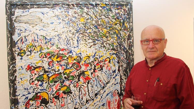 Künstlerische Hommage: Seine Ausstellung verbindet Kunst mit Radsport
