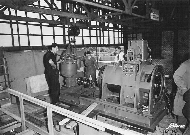 Entwicklung aus Schlieren In der ehemaligen Wagi Schlieren wurde der Aufzug innert Rekortzeit Entwickelt und gebaut. Bild: Archiv SWS