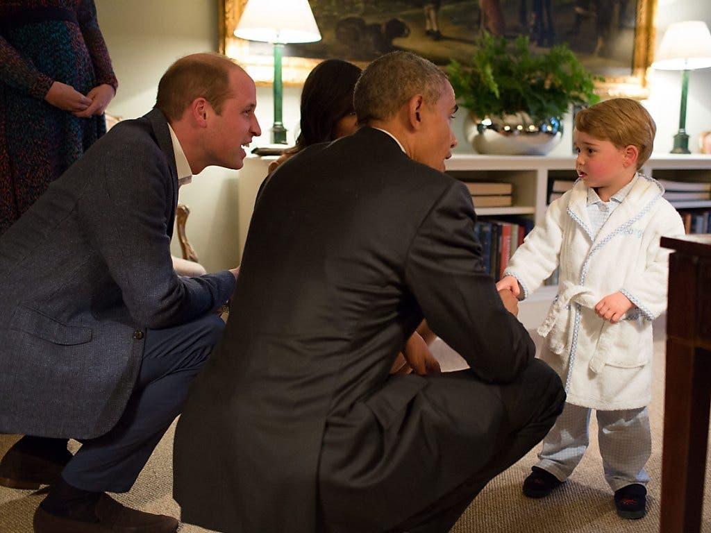 Prinz George trifft auf Präsident Barack Obama