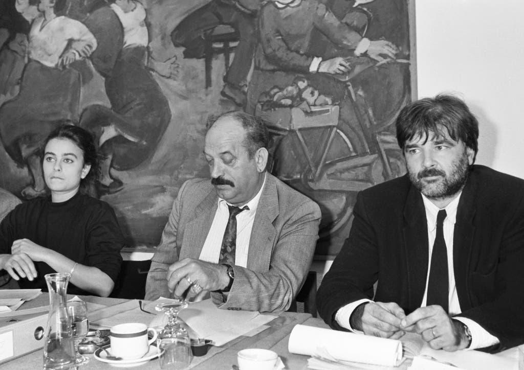 1989: Daniel Vischer (r.) war von 1983 bis 2003 Zürcher Kantonsrat – die ersten sieben davon für die POCH (Progressive Organisationen der Schweiz). 1990 wechselte er zur Grünen Partei.