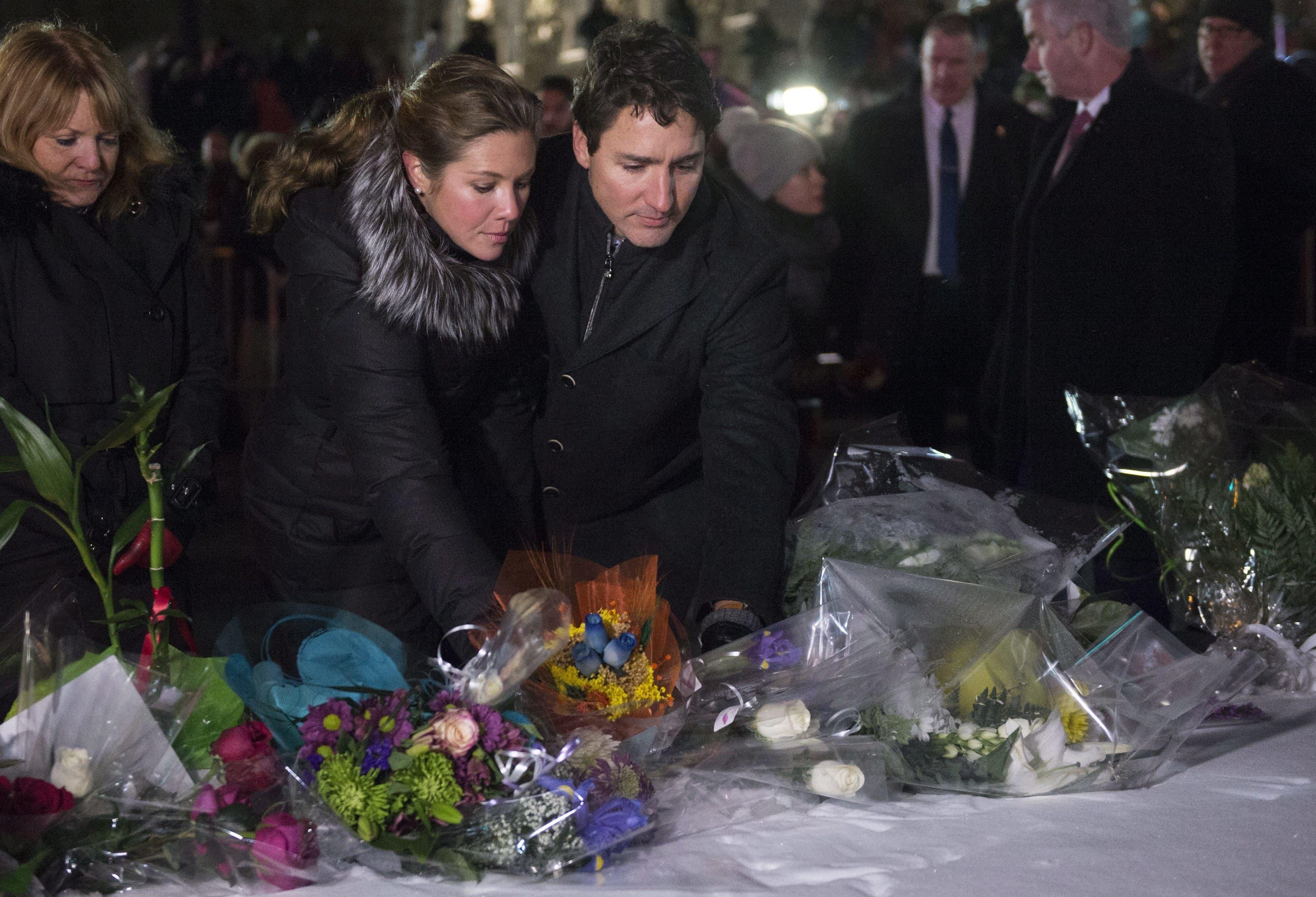 Auch Kanadas Premierminister Justin Trudeau reiste kurzfristig zur Mahnwache nach Québec.