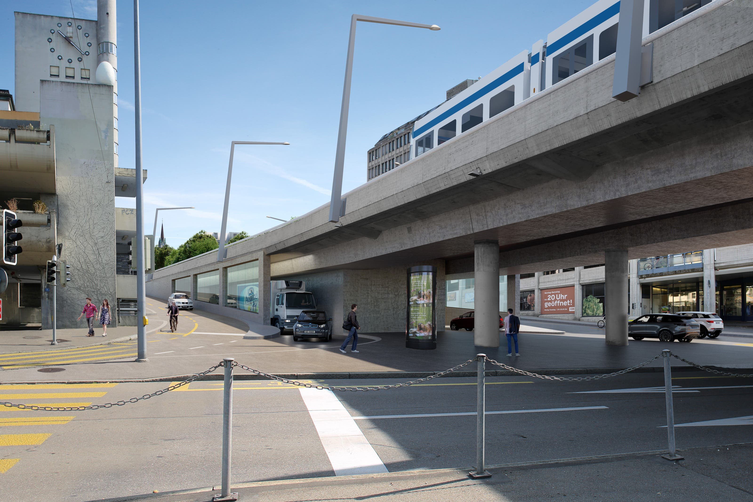 Der Eingang zum Tunnelportal am Wipkingerplatz.