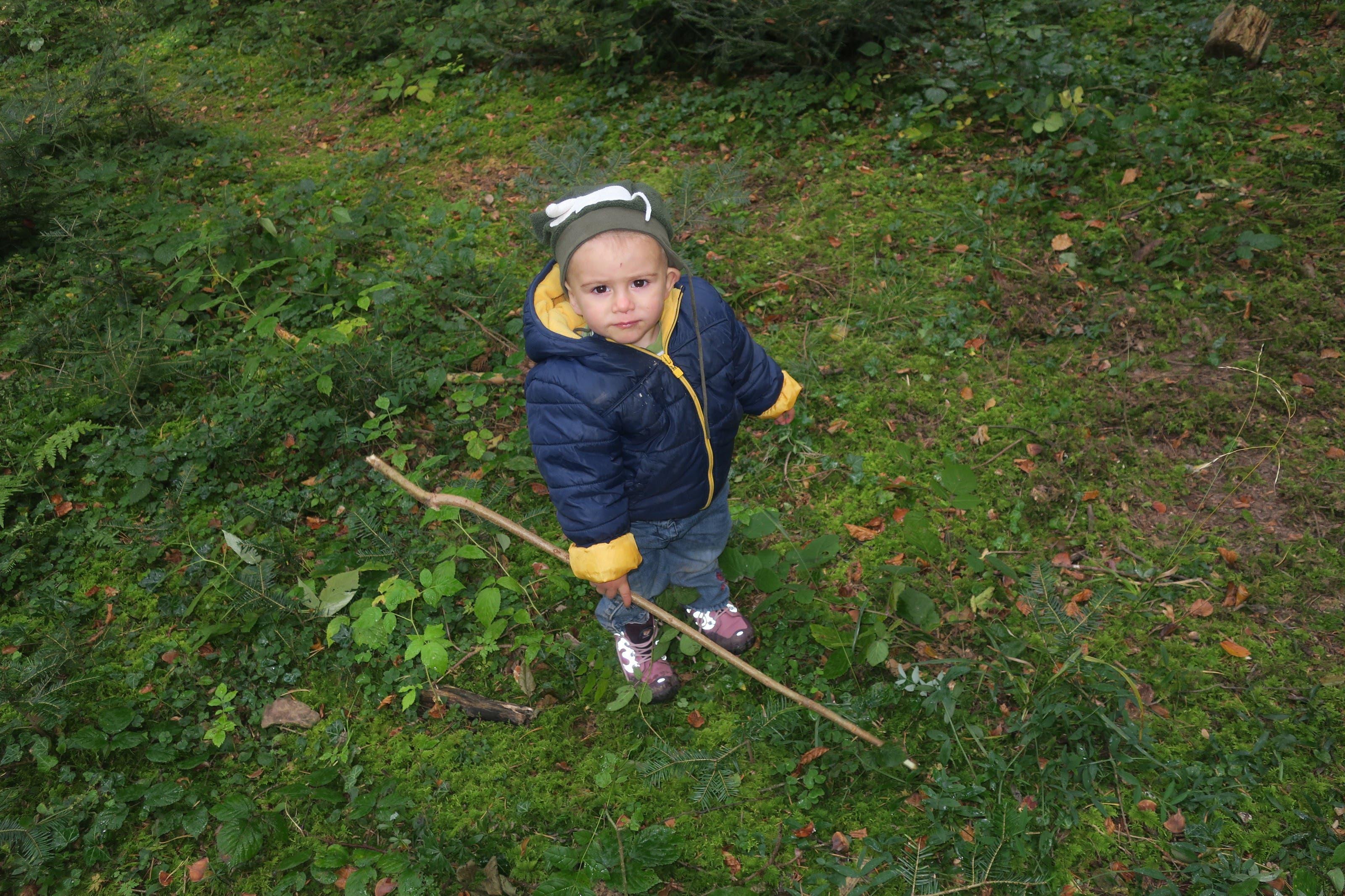 Auch der kleinste Teilnehmer, der zweijährige Dean, ist begeistert vom Wald. Wald-Erlebnis-Woche, organisiert vom Elternverein Geroldswil