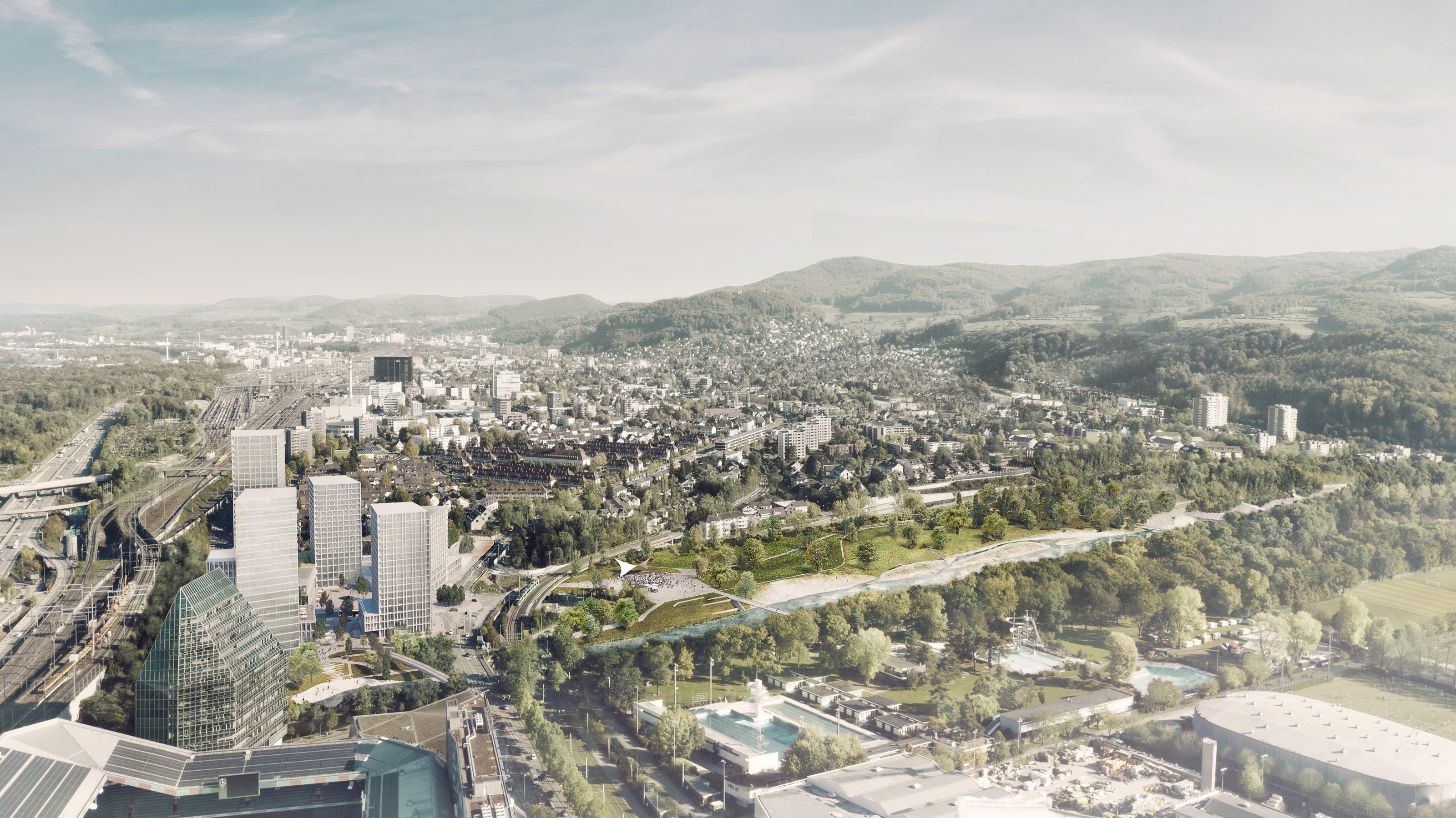 So sollen die Hagnau und das Schänzli in Muttenz in Zukunft aussehen Blick über den gesamten Projektperimeter. Links die Hochhäuser auf der Hagnau. Rechts davon der neue Park, der anstelle der heutigen Pferderennbahn erstellt wird.
