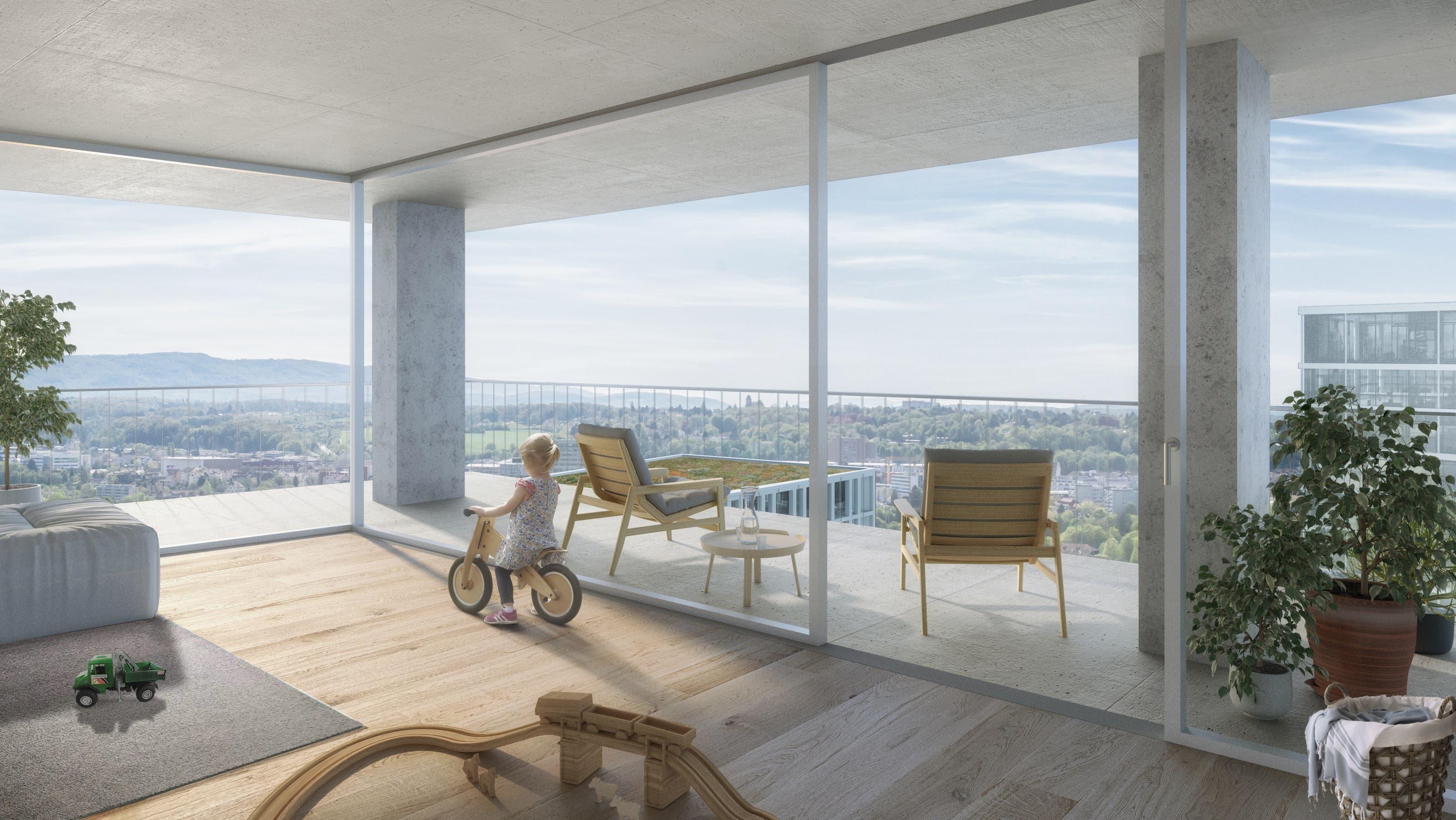 So sollen die Hagnau und das Schänzli in Muttenz in Zukunft aussehen Der Blick von den Hochhäusern soll über die ganze Region schweifen.
