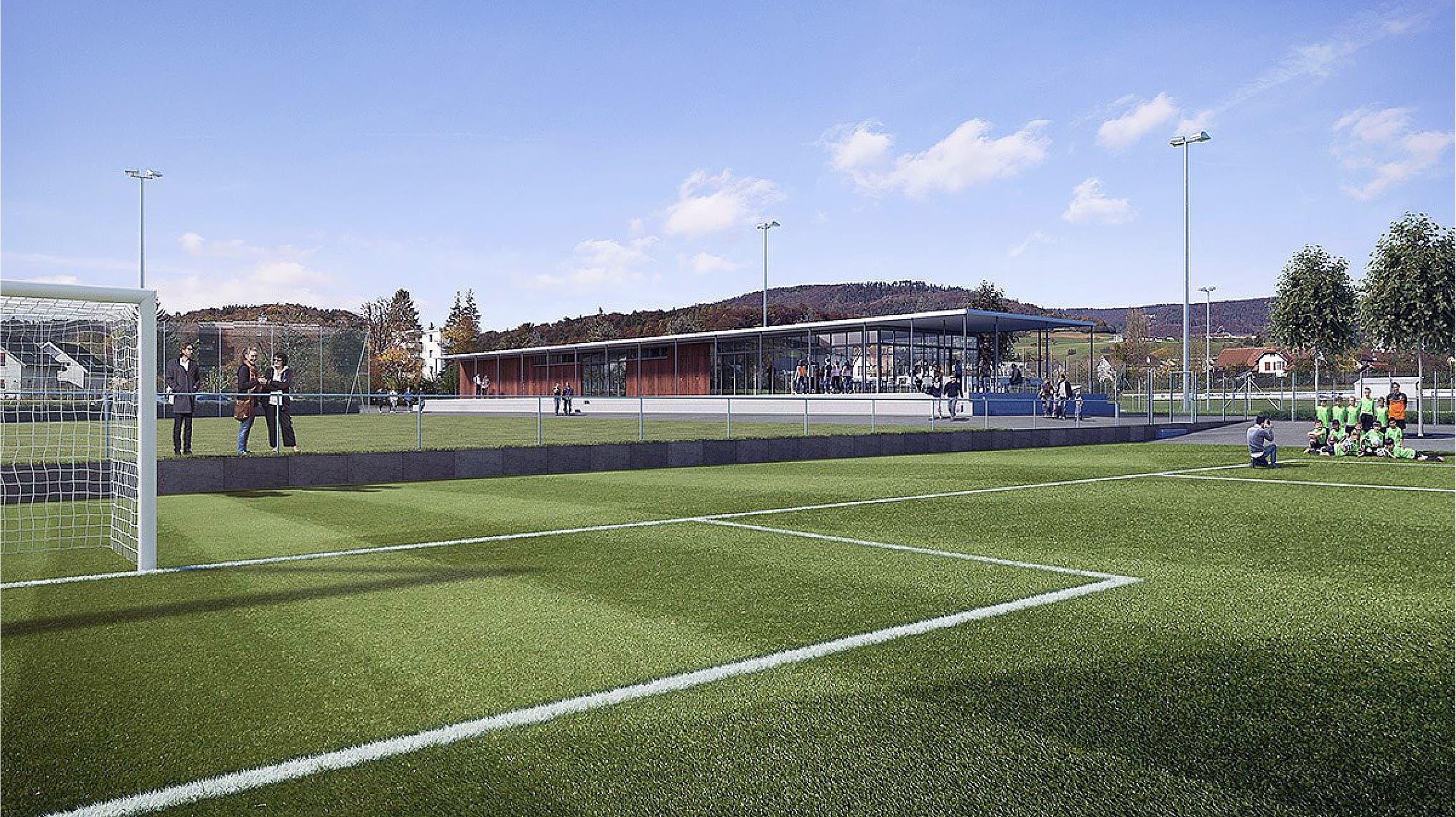 Visualisierung der neuen Sportanlage Breite mit Blick auf das neue Klubhaus.