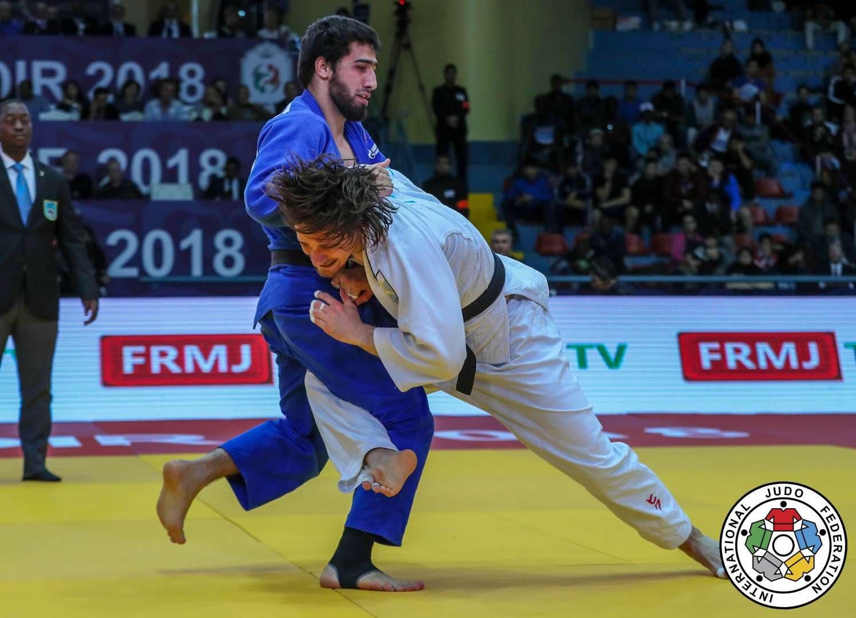 Grand Prix Agadir Der Brugger Judoka Ciril Grossklaus im Final am Grand Prix in Agadir Khusen Khalmurzaev.