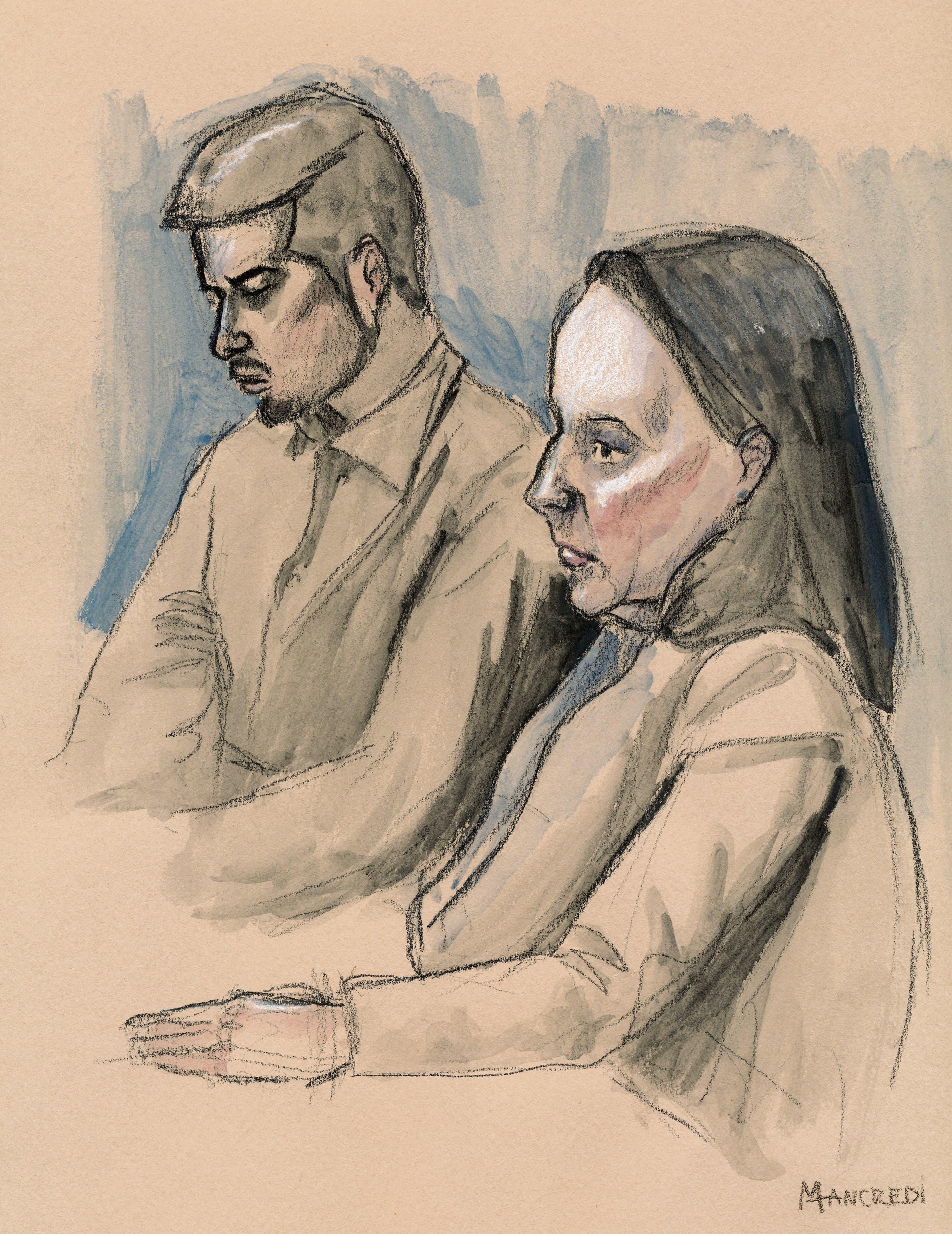 Der Angeklagte Thomas N. (hinten) und Verteidigerin Renate Senn am zweiten Prozesstag in Schafisheim.