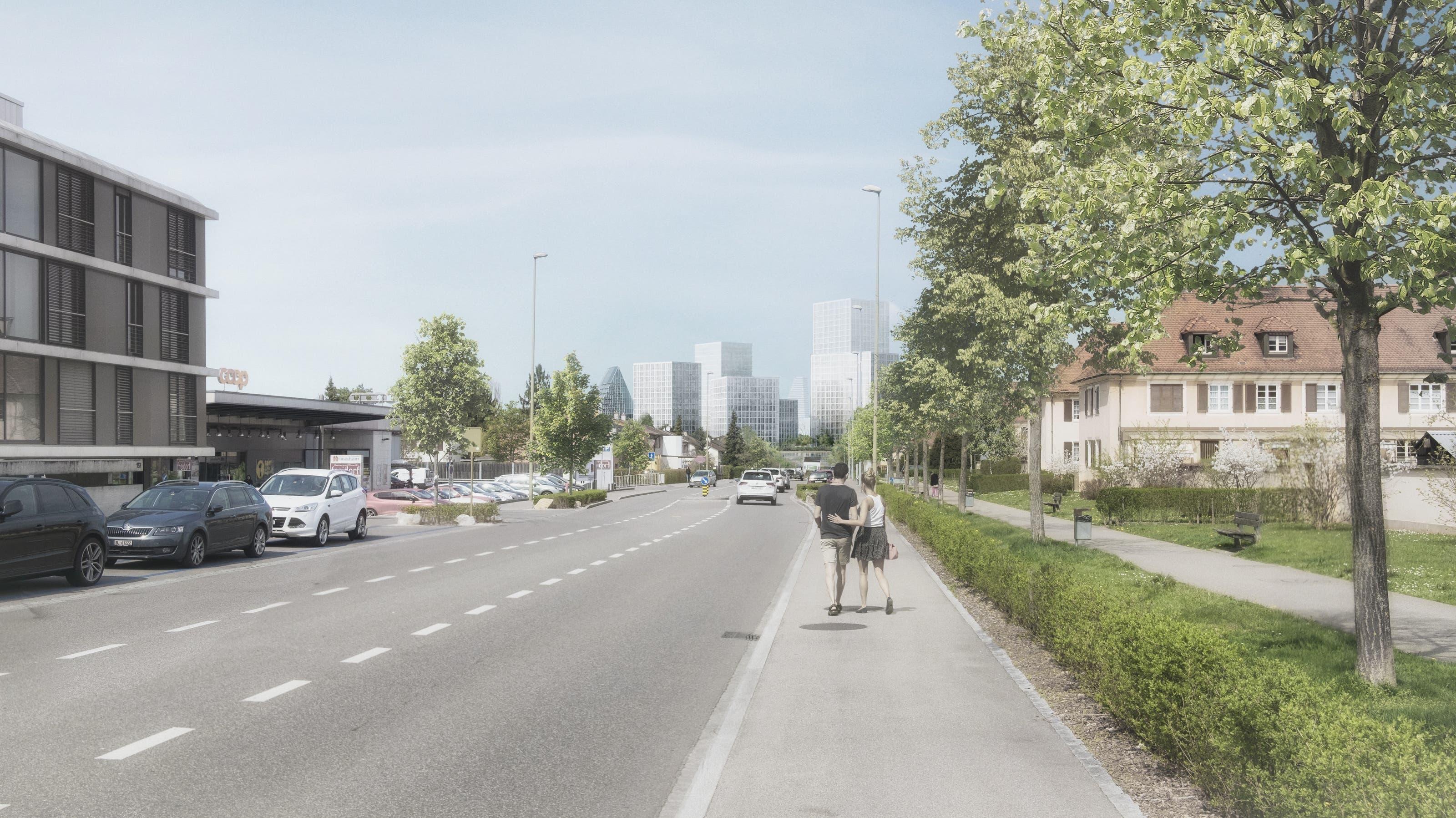 So sollen die Hagnau und das Schänzli in Muttenz in Zukunft aussehen Die Skyline, vom Muttenzer Freidorf aus gesehen.