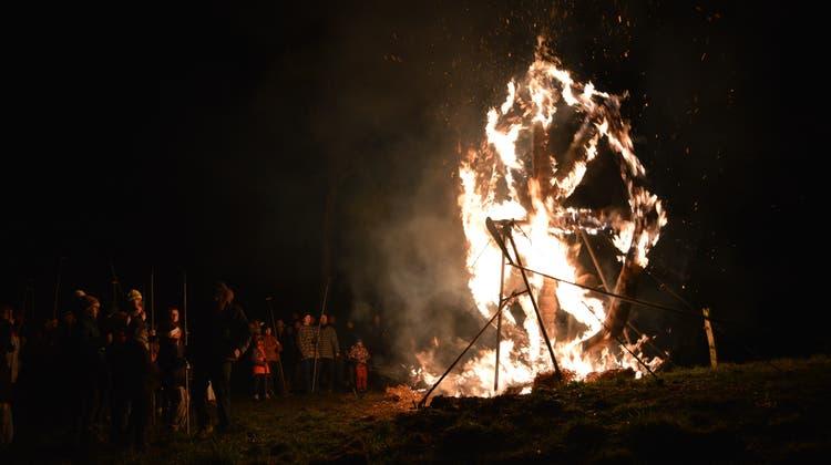 Jubiläum der Schiibesprenger: Feuerspektakel begeistert Gross und Klein
