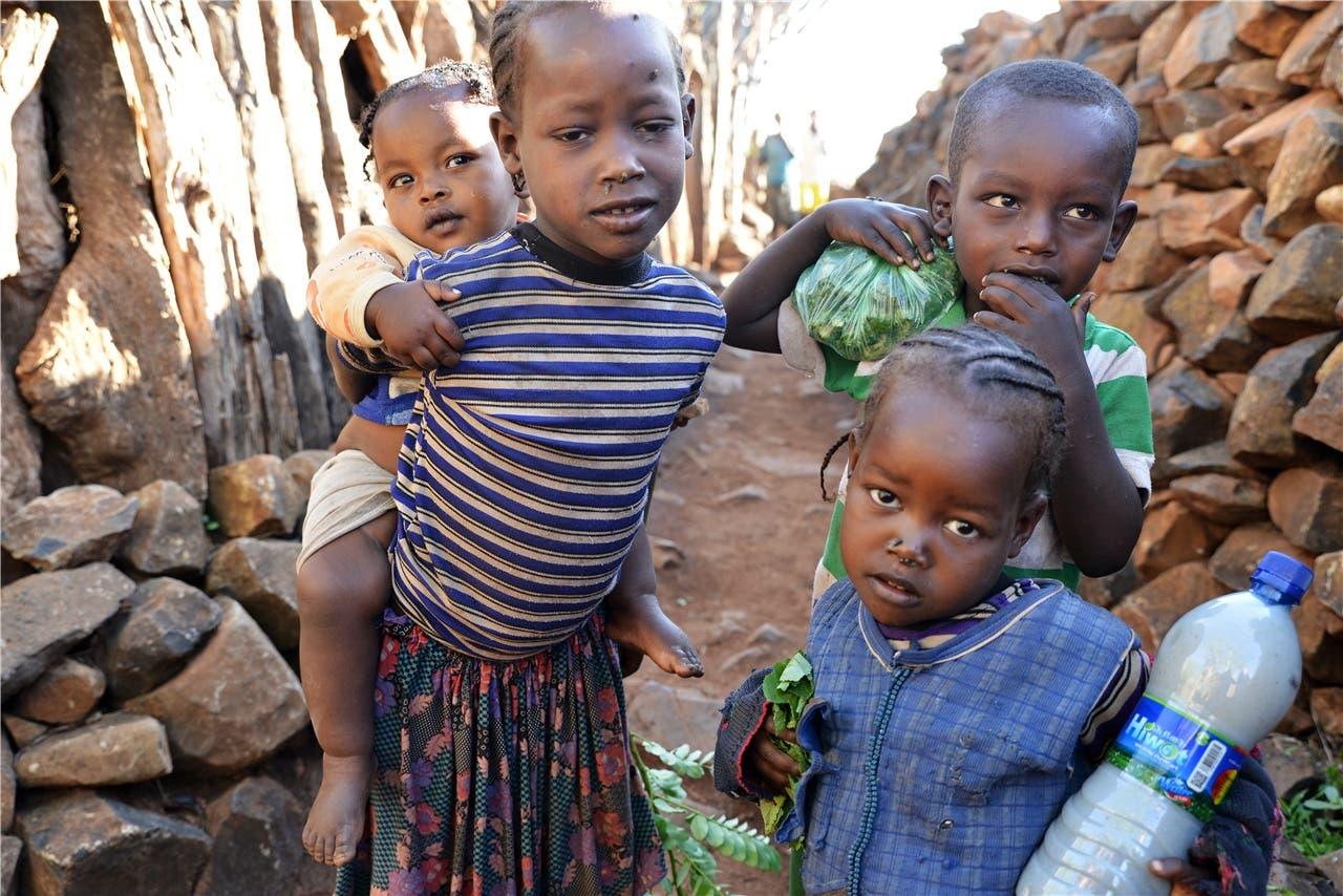 Kinder im Konso-Dorf Gemale, aufgenommen von Amadu (11). Amadu