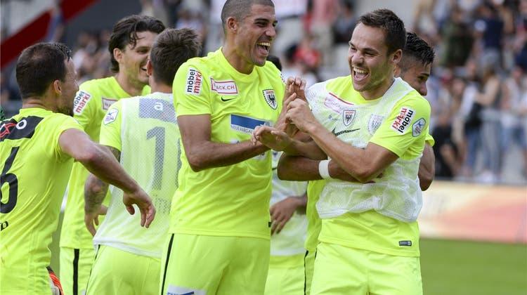 Das neue Sturmduo harmoniert: Der FC Aarau und Mattersburg trennen sich 1:1