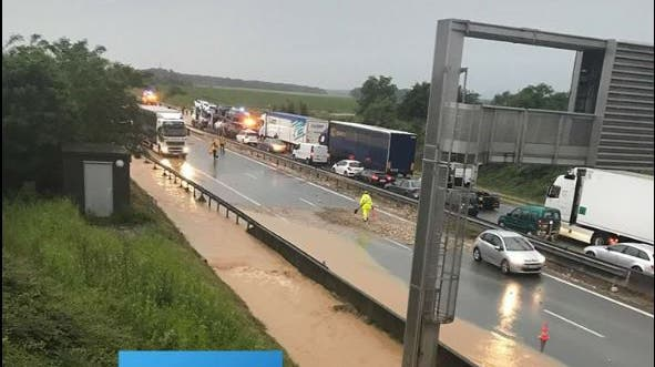 Wegen Unwetter: Im Südelsass war die Autobahn gesperrt