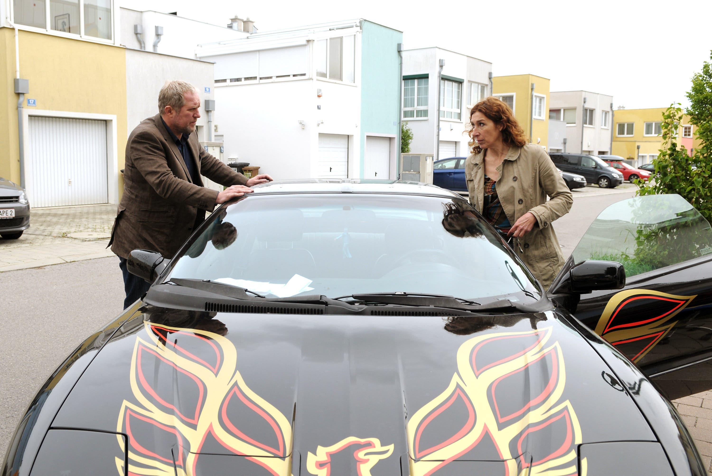 Die Wienerin Bibi Fellner (Adele Neuhauser) und ihr geliehener Pontiac Firebird.
