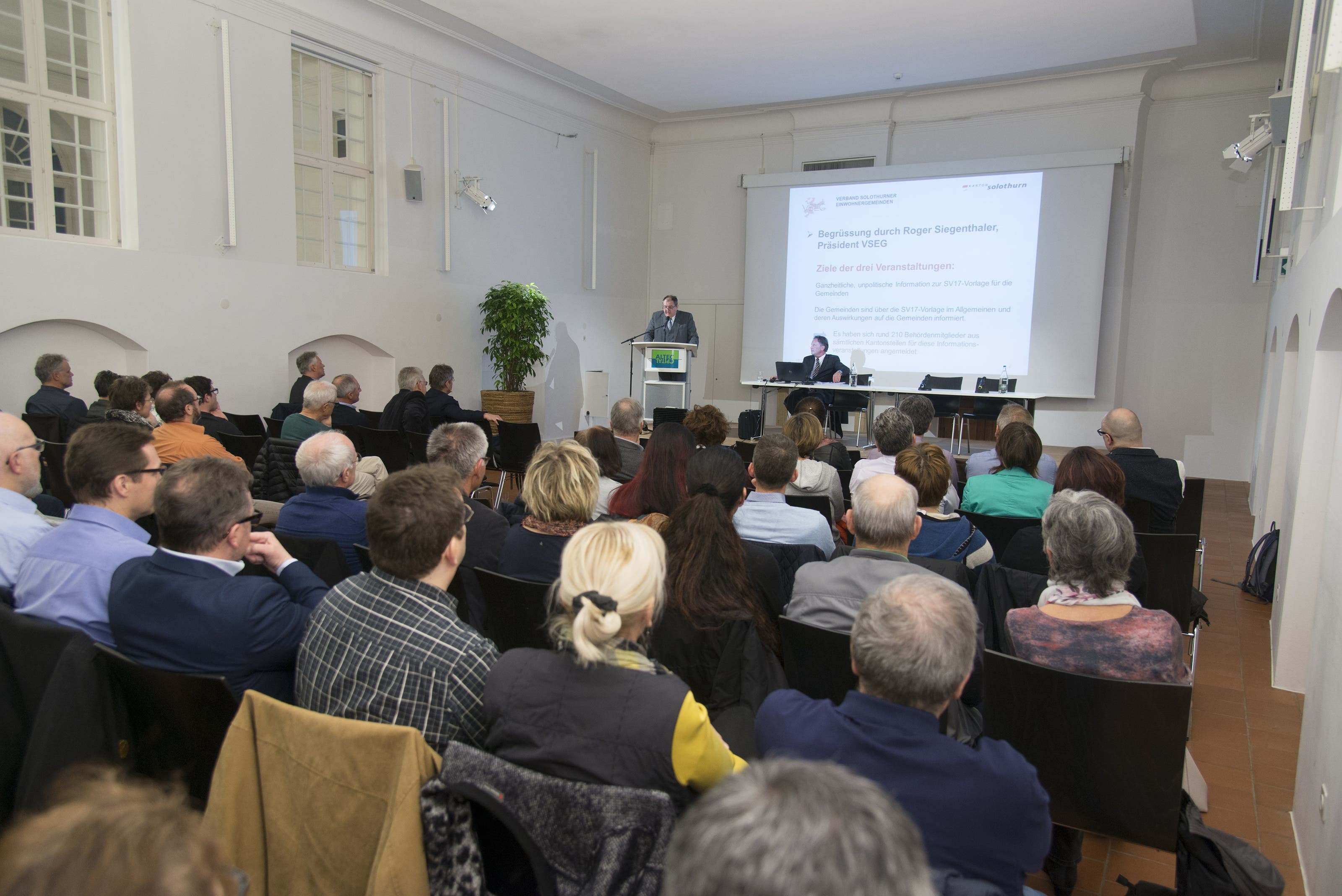 Informationsveranstaltung des VSEG (Verband solothurnischer Einwohnergemeinden) im Alten Spital in Solothurn.