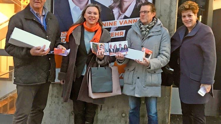 CVP-Kantonsratskandidierende in vollem Einsatz
