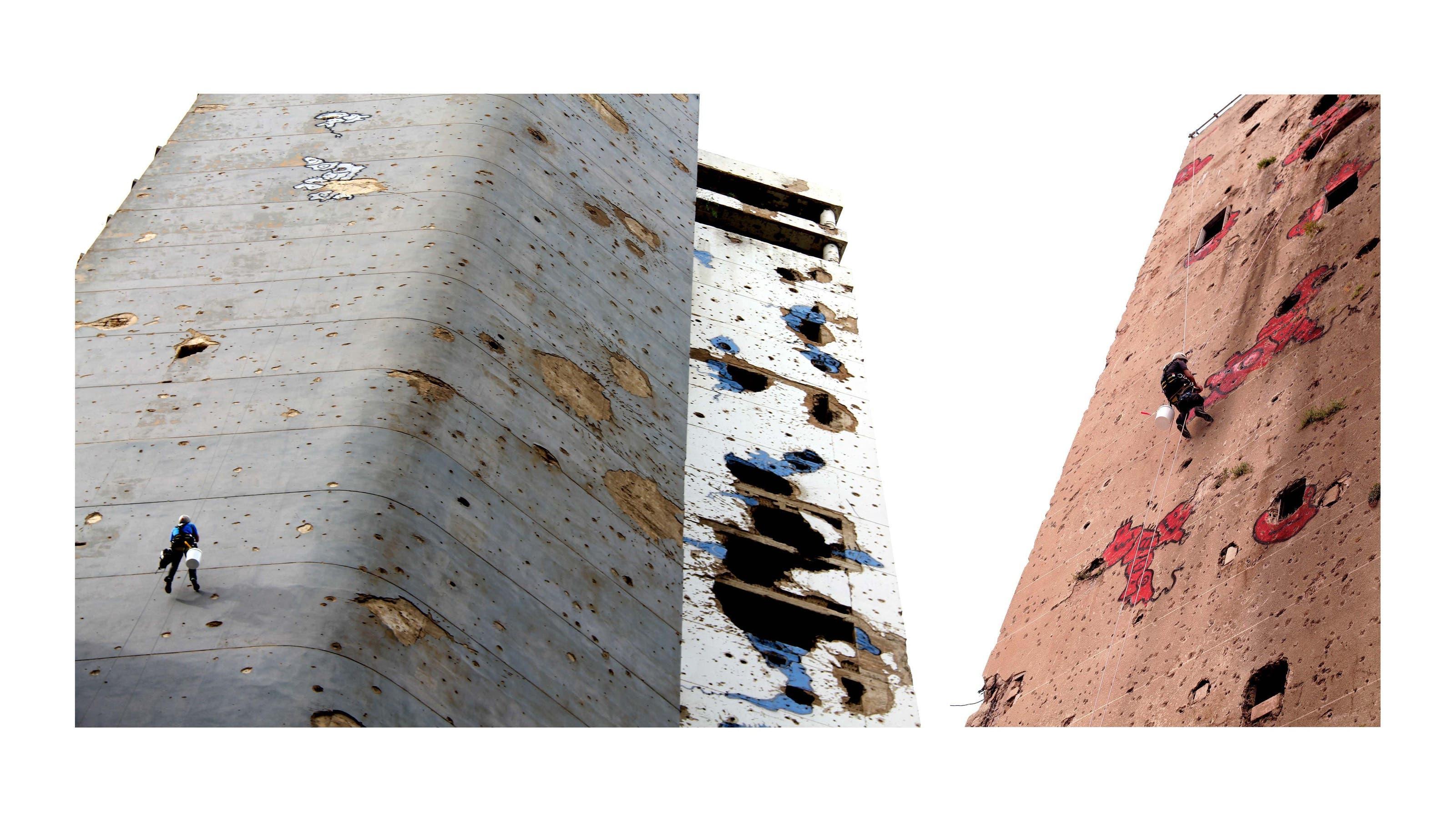 Als er aus Kuwait zurückkam im Sommer 2017 begann er die Kriegsspuren an Häusern zu Figuren zu entwickeln. Weil das einiges an Kritik nach sich zog, entschied er sich, auf die Figuren zu verzichten und Einschusslöcher fortan nur noch mit Farbe zu markieren - wie Textstellen mit einem Leuchtstift.