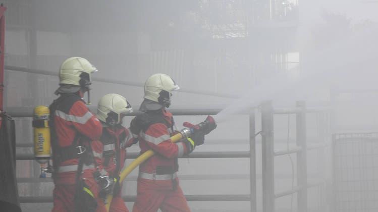 Gespieltes Rauchinferno : Die Uitiker Feuerwehr bot ein feuriges Spektakel dar
