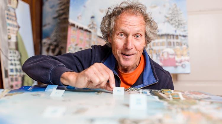 In zwei Monaten ist Weihnachten – Fritz Huser malte den neuen Adventskalender