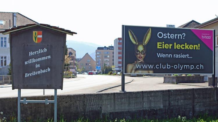 «Ostern? Eier lecken!» – Breitenbacher stöhnen über schlüpfriges Bordell-Plakat