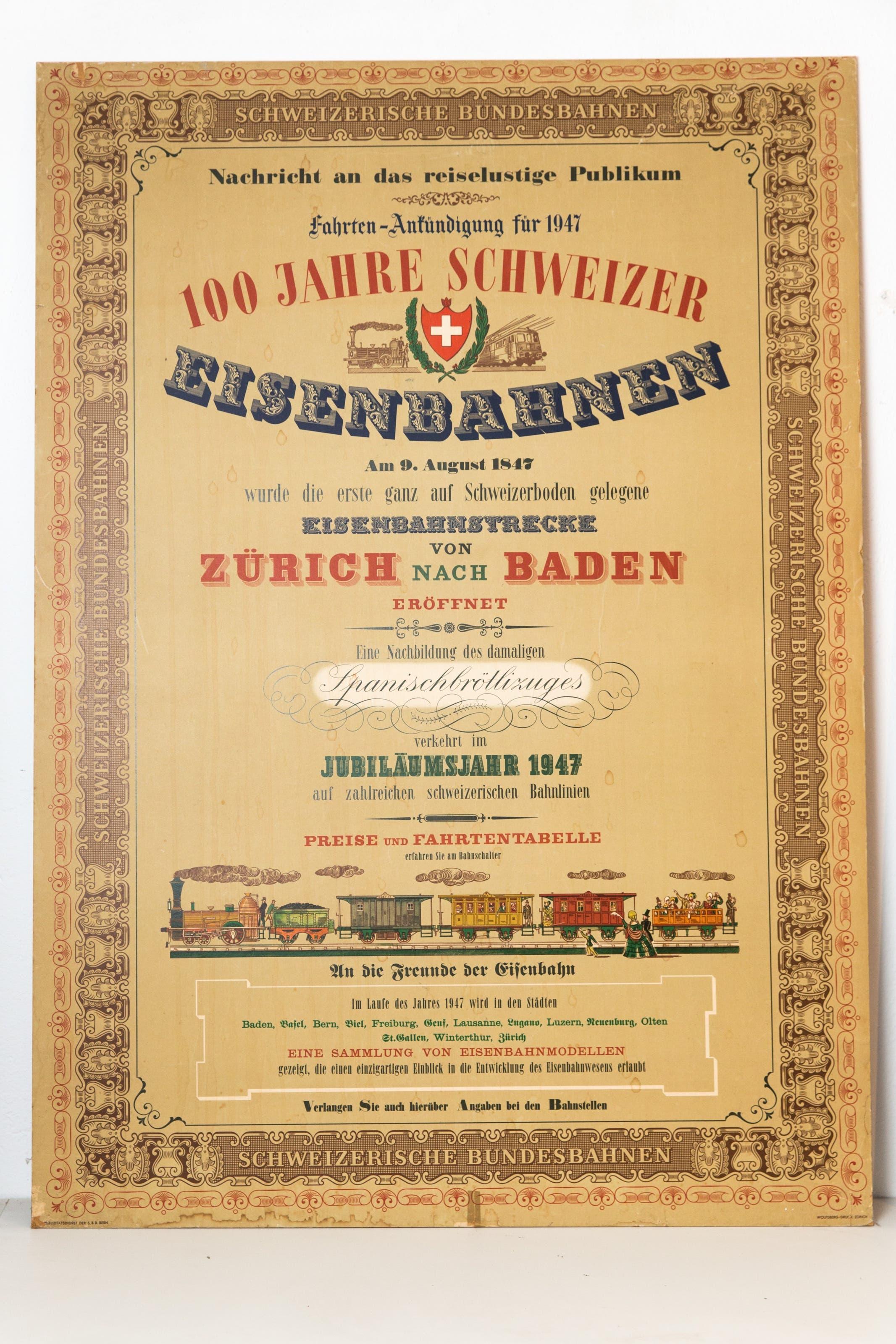 1947: 100 Jahre Spanischbrötlibahn. «Tragen Schleppen Fahren» – so lautete das Umzugsmotto der Badenfahrt 1947.