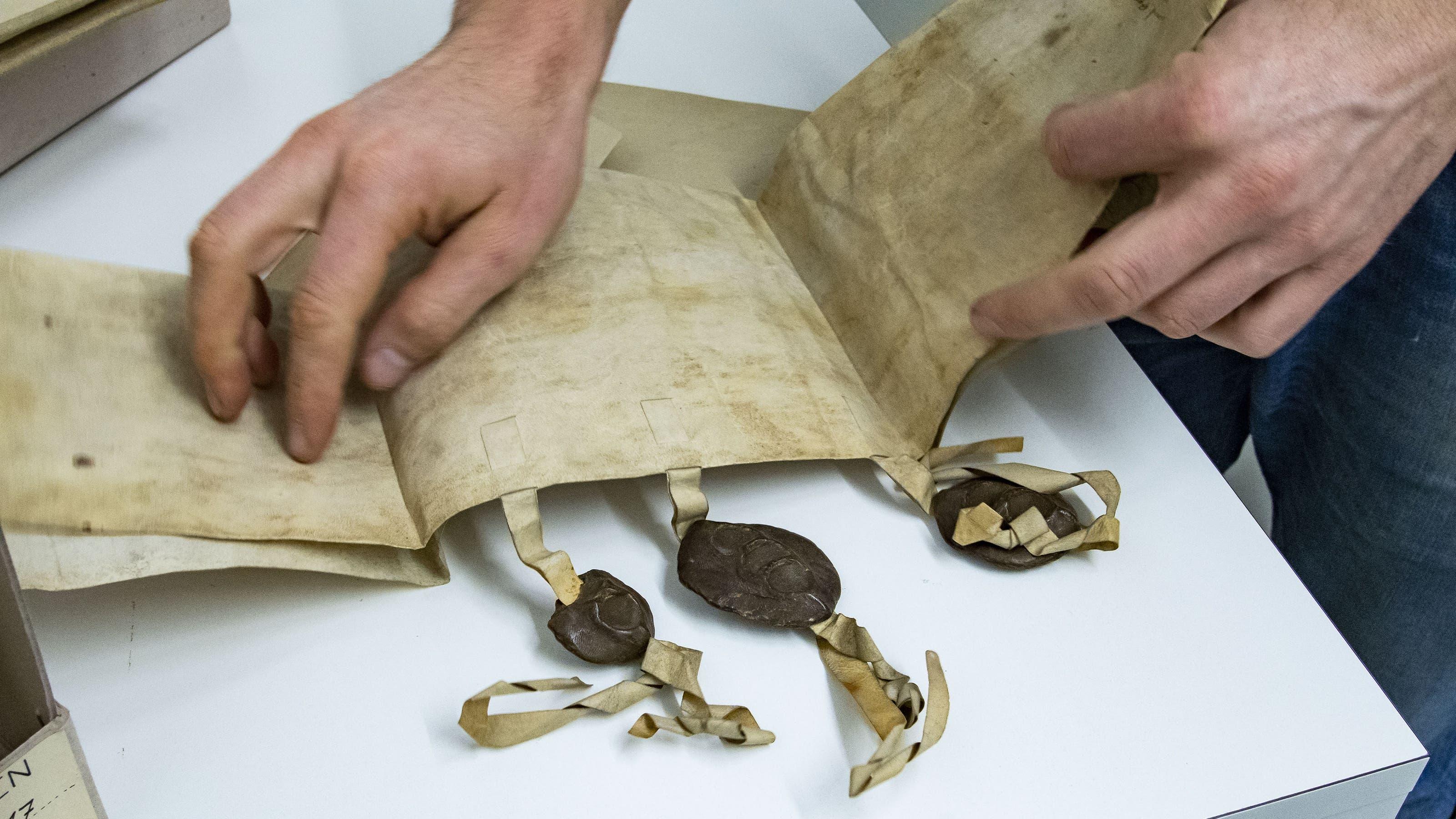 Dabei wird unter anderem eine Mittelalterliche Urkunde angeschaut.