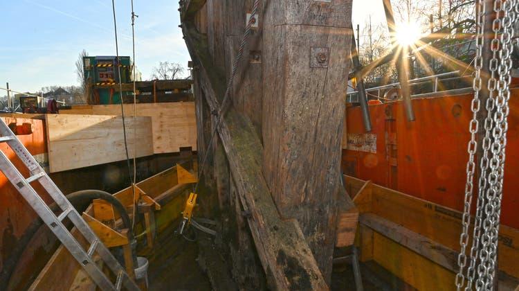 Für die neuen Pfeiler der Holzbrücke werden feinste Hölzer verwendet