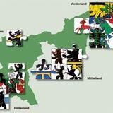 Ausserrhodern soll gemäss einem Vorschlag der Regierung künftig aus nur noch vier Gemeinden bestehen. (Visualisierung: APZ)