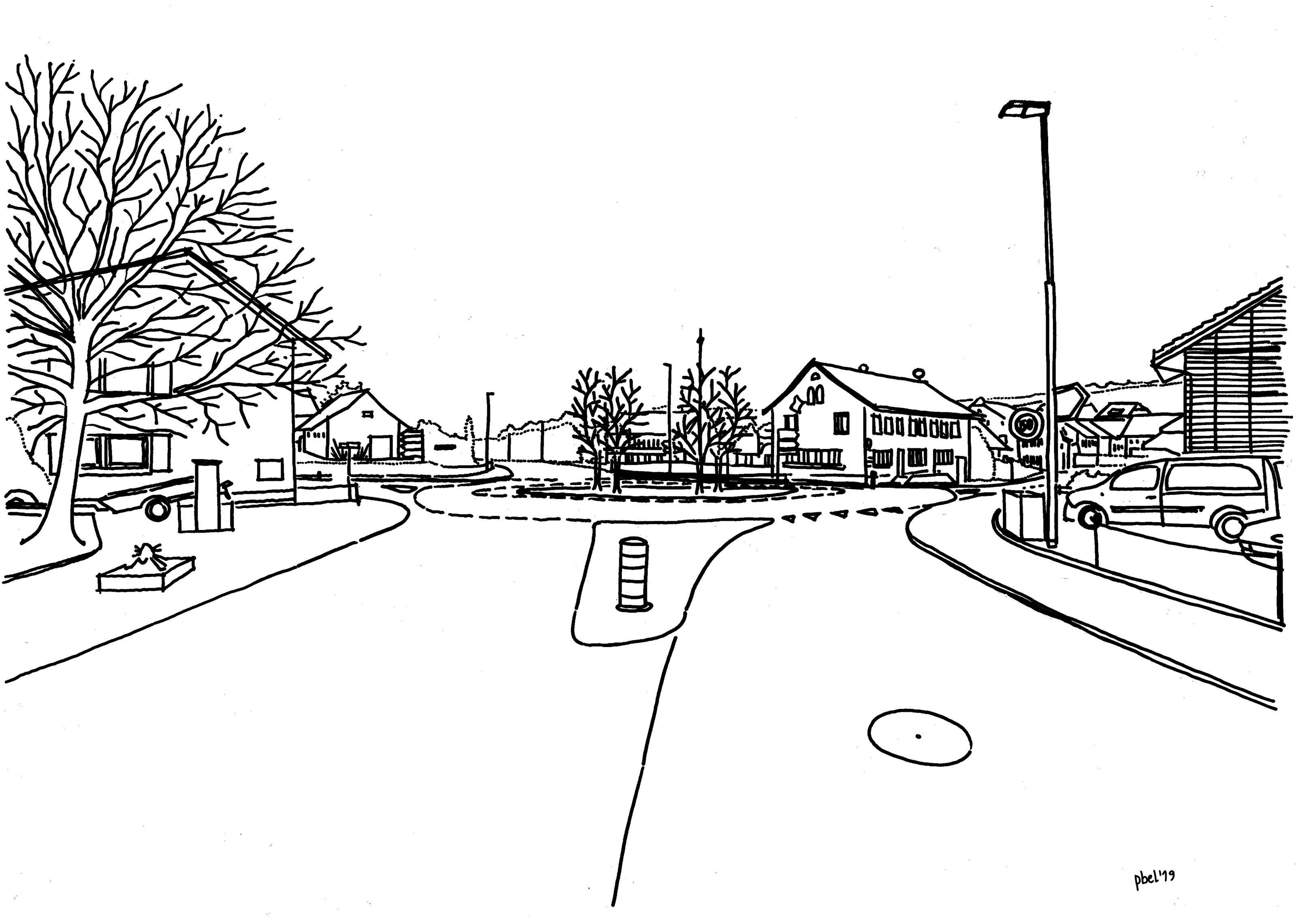 Knoten Bözberg- und Bahnhofstrasse Die Skizzen zeigen die Kreuzung Bözberg- und Bahnhofstrasse in Effingen Richtung Bözen mit der bestehenden Einspurstrecke und dem geplanten Kreisel.