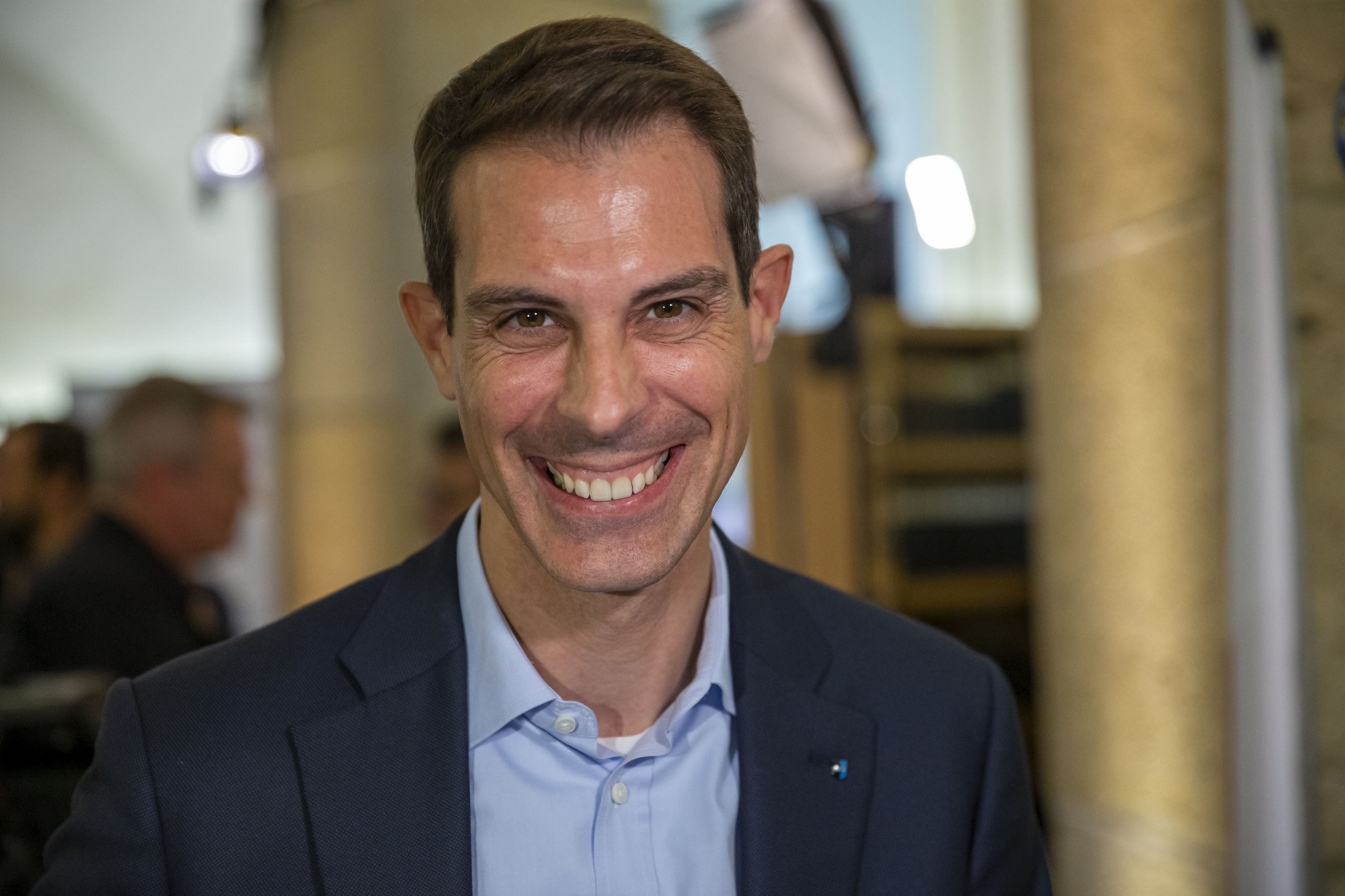Thierry Burkart (FDP): Ständerat seit 2019 Thierry Burkart, FDP Nationalrat, im Wahlzentrum des Kanton Aargau am Sonntag, 20. Oktober 2019, in Aarau. (KEYSTONE/Patrick B. Kraemer)