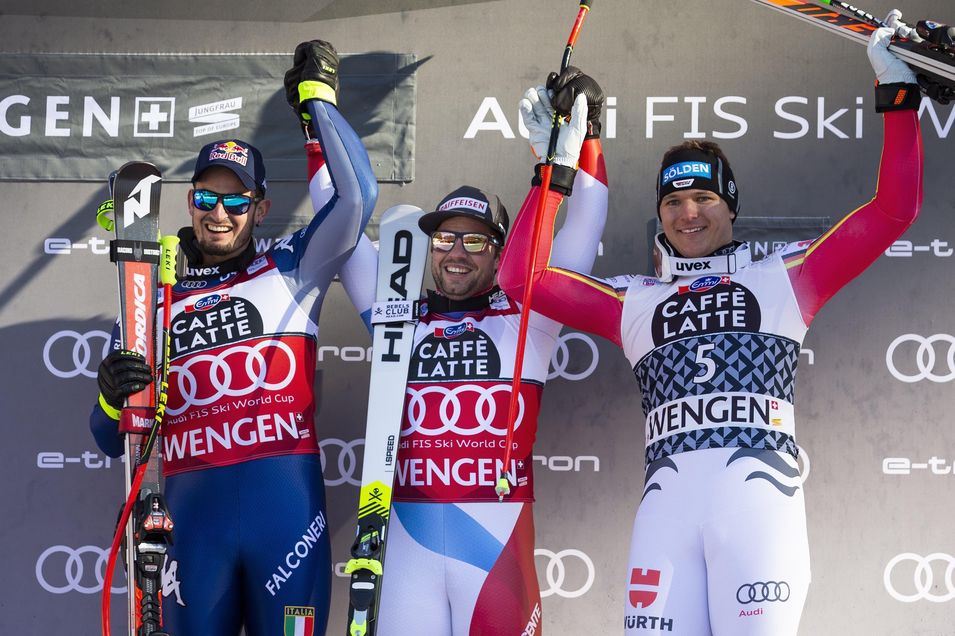 Feuz stand zum 16. Mal in den letzten 18 Abfahrten und zum fünften Mal im fünften Rennen dieses Winters auf dem Podest.