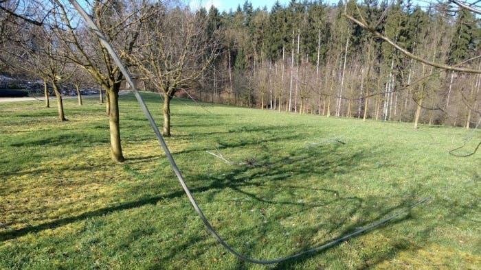 Die heruntergerissene Hochspannungsleitung in Hettenschwil sorgt für den Blackout in 13 Gemeinden.