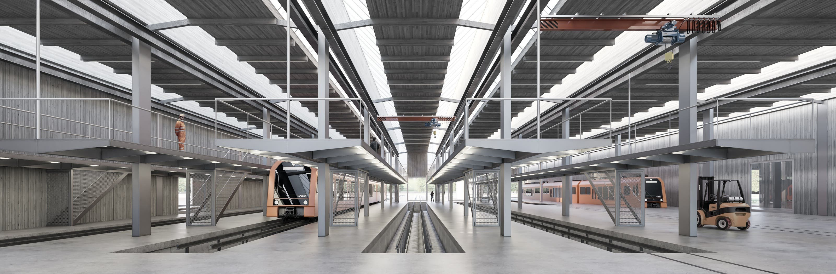 Das Dachtragewerk ist konzipiert als hybride Struktur aus Stahl und Holz. Die natürliche Belichtung der Halle mit Oblichtern entsteht direkt aus der Geometrie des Tragwerks.