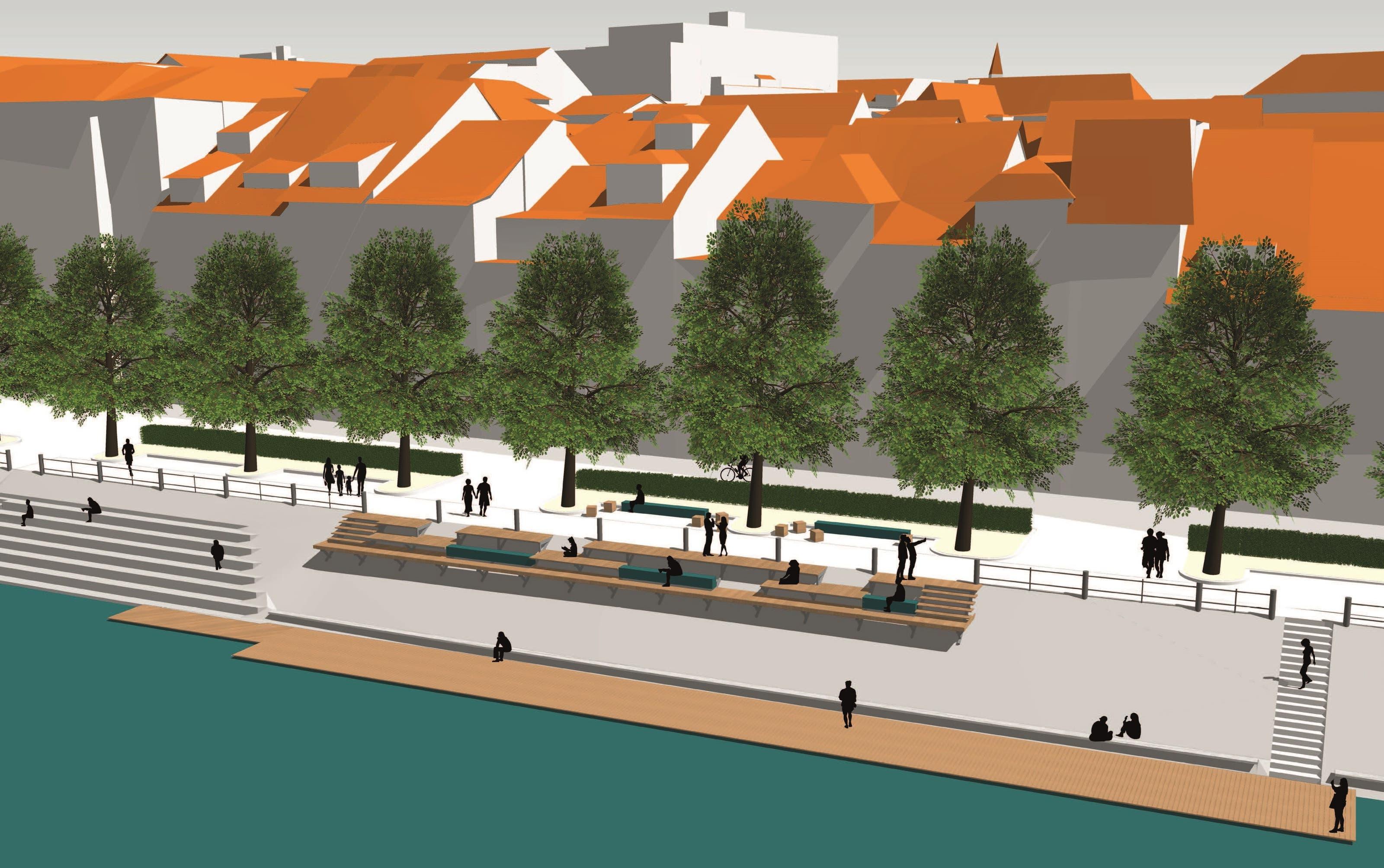 Visualisierung der geplanten hölzernen Rheinterrasse.