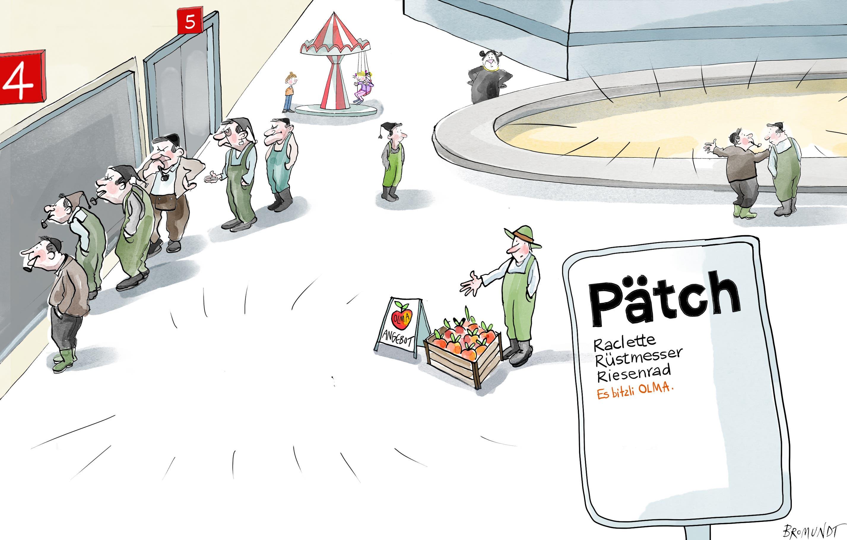 Es bitzli Olma. Keine richtige Olma, nur eine Mini-Ausgabe: Dieses Wochenende öffnet die «Pätch» die Tore. 5000 Eintritte pro Tag und 150 Aussteller gibt es. Aber keine Kühe im Stall, kein Säulirennen und keine Degustationshallen 4 und 5. Manch ein Landwirt aus der Region fragt sich deshalb, wofür er nach St.Gallen kommen soll. (Illustration: Corinne Bromundt – 10. Oktober 2020)