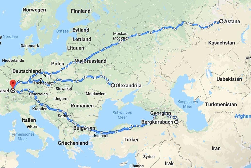 Die Far-East-Gruppe: Astana, Qarabaq, Olexandrija Die Reise von Basel zu den drei Spielorten und zurück beträgt 24'100 Kilometer.