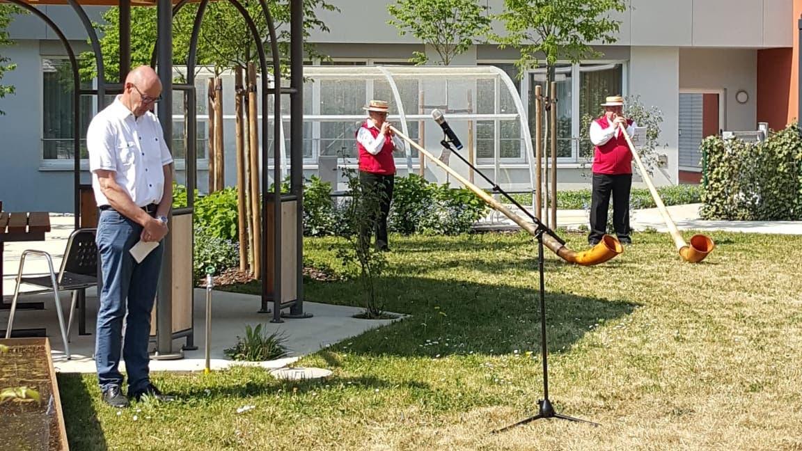 Am 26. April hielt der katholische Seelsorger, Heinz Bader, ltersheim Inseli eine rund 15-minütige Andacht