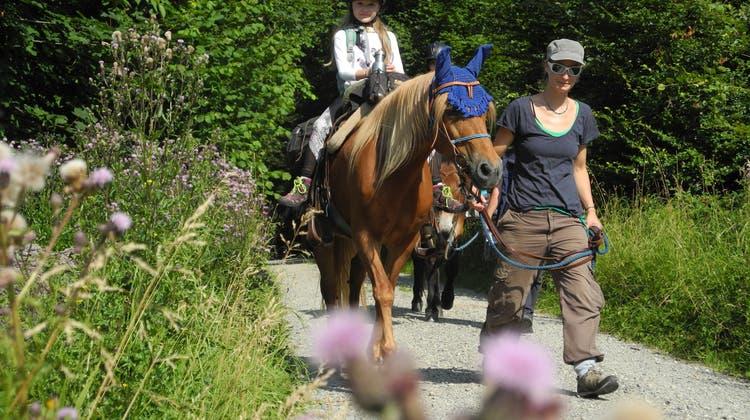 Fest im Sattel: Beim Chrüzacher-Pferdeausflug erlebten Kinder die Gegend vom Pferderücken aus
